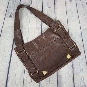 TOMMY HILFIGER | pebbled leather shoulder tote bag